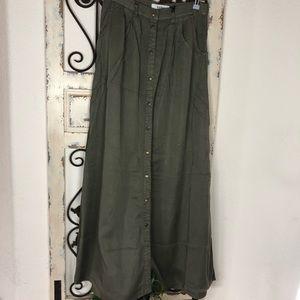 Pistola olive green button down maxi skirt